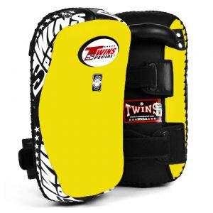 Twins KPL10 Yellow Black Leather Thai Kick Pads