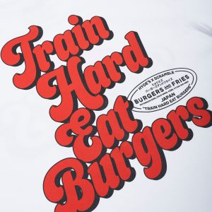 Scramble Train Hard, Eat Burgers Tee