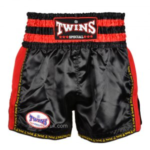 Twins TWS-922 Plain Retro Muay Thai Shorts Black Red