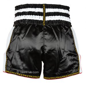 Twins TWS-922 Plain Retro Muay Thai Shorts Black White