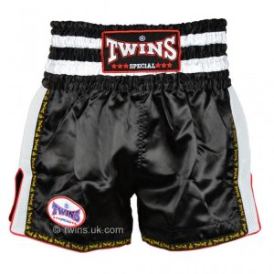 Twins TWS-923 Plain Retro Muay Thai Shorts Black White
