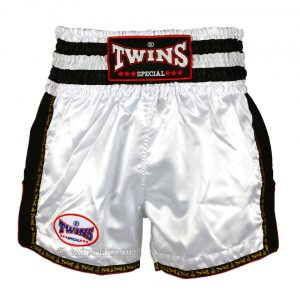 Twins TWS-928 Plain Retro Muay Thai Shorts White Black
