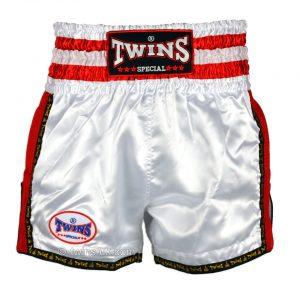 Twins TWS-922 Plain Retro Muay Thai Shorts White Red