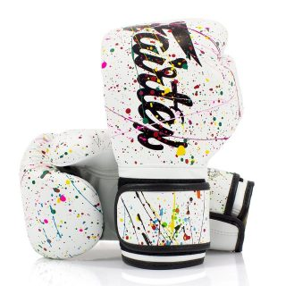 """The new Fairtex BGV14PT 'The Painter' Unique Boxing Gloves Black White 🎨 - """"The paint-splash design of each pair of gloves is made by hand, one by one and depending on the mood of our artist. So, you will own unique gloves that only belong to you and never found anywhere else. No two pairs will ever be the same; a groundbreaking new concept from Fairtex. New design gloves with long cuff made using Microfiber for the outer shell to make a consistent weight. Microfiber is odourless, endurable, flexible, soft and a smooth finish. As it's a non-leather material, it's vegan friendly"""". - Use """"INSTA10"""" for 10% off your purchase at www.minotaurfightstore.co.uk! The best Boxing, Muay Thai, MMA, BJJ & No Gi gear at the best prices. - 🇬🇧 FREE UK Shipping 🌎 Worldwide Shipping Available!"""