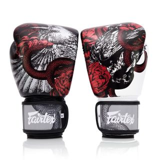"""The Beauty of Survival 🌗 Limited Edition Fairtex BGV24 Boxing Gloves available now 👀 - """"The artwork is a Raven fighting with a Serpent for survival. Roses represent the beauty or the other side of violence which is trying to convey the picture of Muaythai. The misconception of our sport is it's sometimes violent but the other side of the coin is that when 2 people fight to survive or win it's…. passion which is the beauty of this sport"""". @fairtexthailand"""